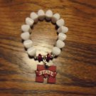 HANDCRAFTED MISSISSIPPI STATE EXPANSION BRACELET....RUBBERIZED M AND WHITE BEADS