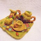 MULTI COLORED MINATURE TEA SET....GREAT ACCENT