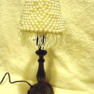 "SMALL METALLIC DECORATIVE LAMP...CANDLESTICK STYLE..BEADED SHADE...14 1/2"" TALL"