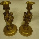 """SET OF GOLDTONE ANGEL CANDLE HOLDERS....8"""" TALL...UNIQUE & DECORATIVE"""