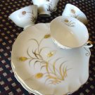 VINTAGE LEFTON CHINA, DESSERT OR SNACK TRAYS WITH CUPS...WHITE WITH GOLD DESIGN