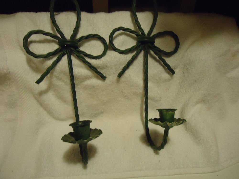 """METALLIC TWISTED WIRE CANDLE HOLDERS (2) WALL SCONCE ....GREEN...APPROX 12"""" TALL"""