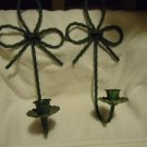 "METALLIC TWISTED WIRE CANDLE HOLDERS (2) WALL SCONCE ....GREEN...APPROX 12"" TALL"