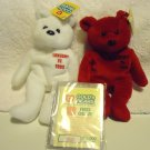 TWO MICHAEL JORDAN BEAN BAG BEARS..MINT WITH TAGS..GOLD N BEARS..RETIRED NICE