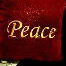 "DECORATIVE VELVET/VELOUR  ""PEACE"" CUSHION/PILLOW...10"" X 10"""