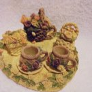 HEART SHAPED TRAY & FLORAL MINATURE TEA SET....NICE DETAIL