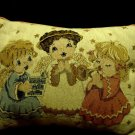 """BEAUTIFUL THREE  SINGING ANGEL COUNTRY TAPESTRY CUSHION /PILLOW..12"""" X 16"""""""