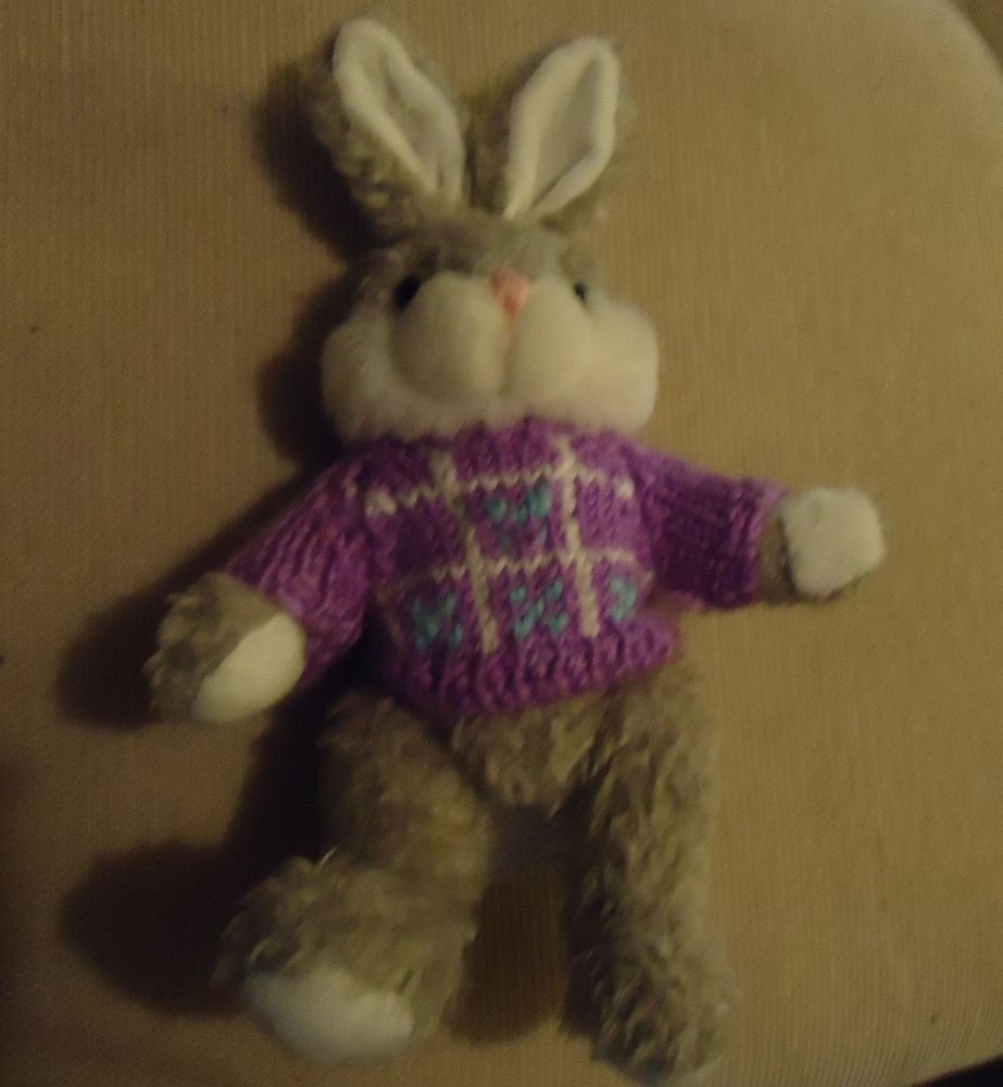 """9"""" PLAYFUL PALS BUNNY RABBIT....PLUSH WITH KNITTED SWEATER....SO CUTE"""