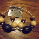 "LARGE 3"" WOODEN BEAD LOOP EARRINGS....UNIQUE.....LOOKS GREAT"
