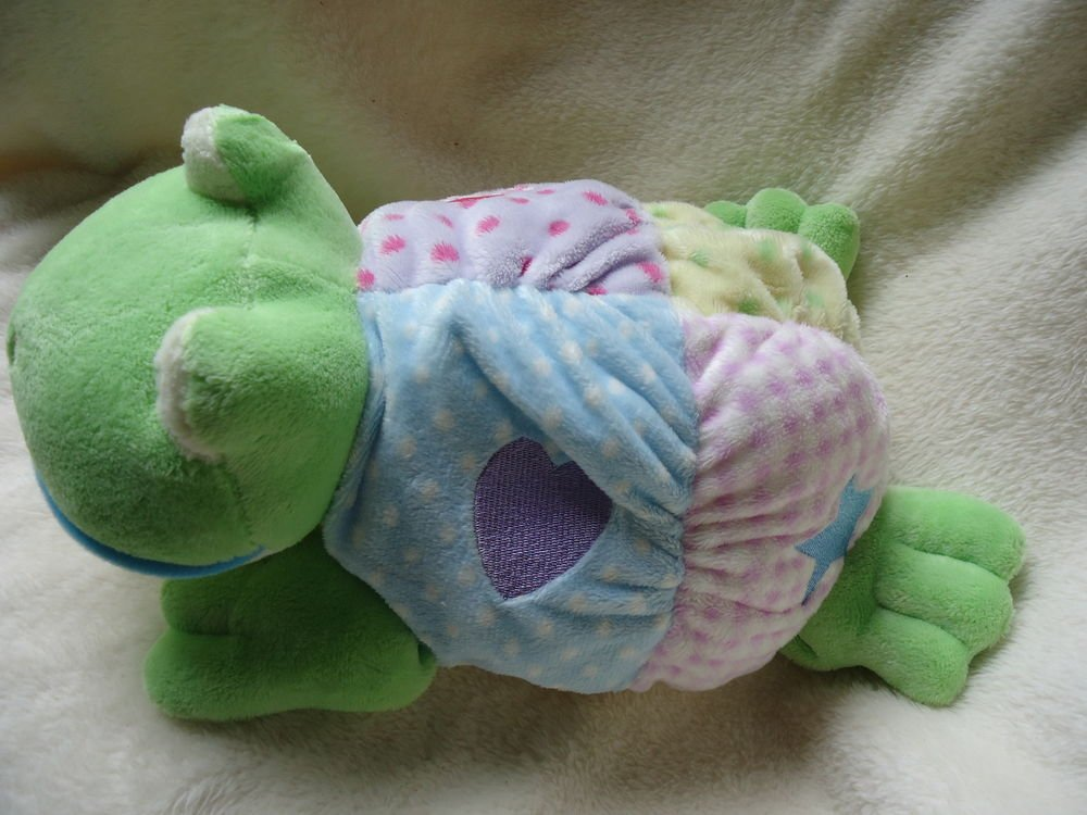 """AURORA BABY PLUSH CRINKLE TURTLE 14"""" WITH HEART, CLUB, STAR & CLOVER ON BACK.."""