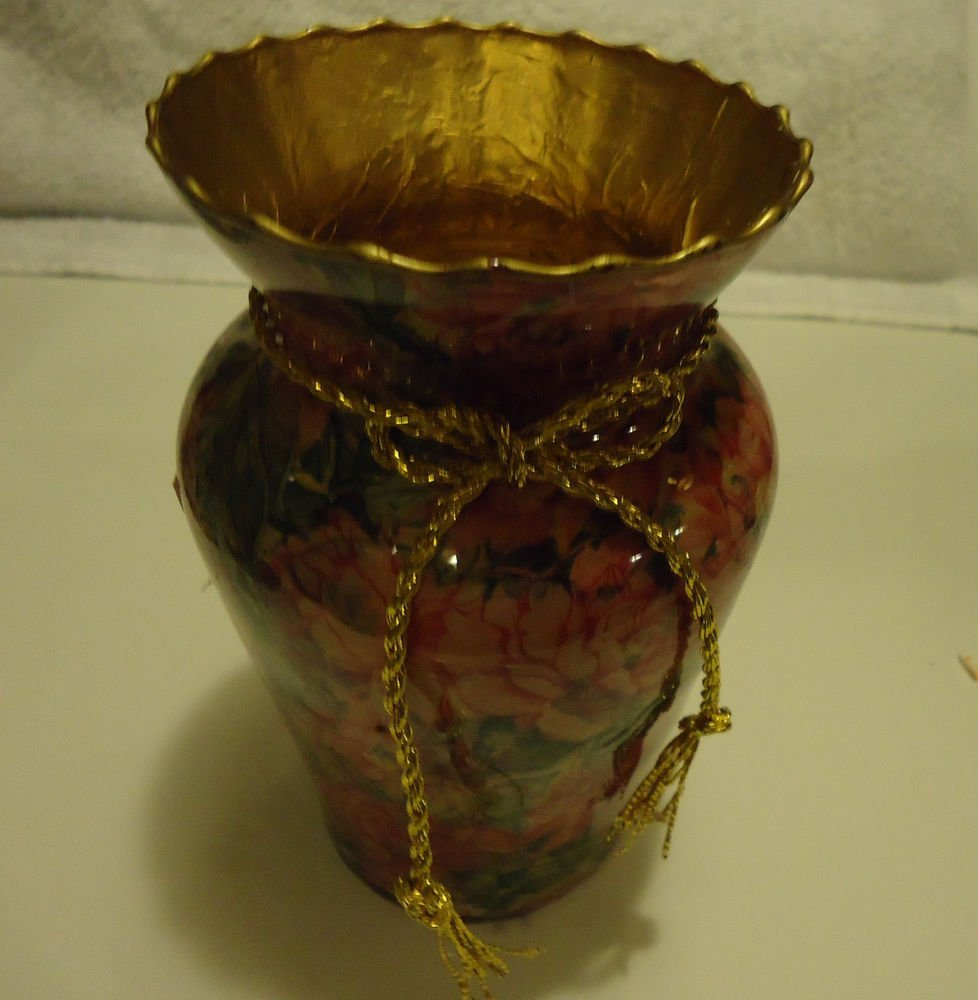 FLORAL DECOUPAGE VASE IN PINKS & GREENS BY B & J CRAFTS..GOLD TRIM & RIBBON