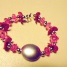 "PINK & SILVER  7"" TO 7 1/2""  BEADED LADIES/GIRLS BRACELET"