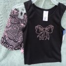 GIRLS PAJAMAS 2 PC BLACK AND PINK WITH JEWELED BOW..SIZE XS(4/5) NEW WITH TAGS