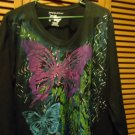 """JUST MY SIZE"" DECORATIVE BLOUSE/SHIRT IN WOMEN'S SIZE 2X-MID SLEEVES & BUTTERFL"