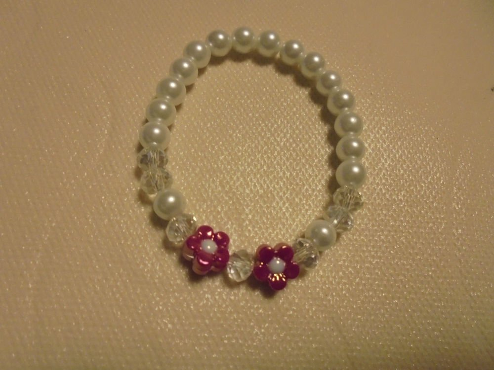 """WHITE GLASS PEARLS WITH PINK FLOWERS FOR LITTLE GIRL...""""FIRST PEARLS""""...."""