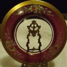 """STUNNING GOLD GILDED HAND PAINTED RAISED ENAMEL 10 3/4"""" PINK ROSES-VINTAGE STAND"""