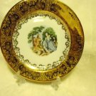 """VINTAGE ATLAS CHINA 6 1/4"""" PLATE...COLONIAL COUPLE...22 K GOLD...WITH STAND"""