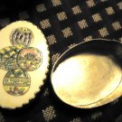 "ASIAN VINTAGE SILVER TRINKET BOX WITH HAND PAINTED PORCELAIN INLAID LID-2 1/2""D"