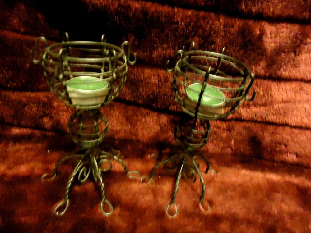 """PAIR OF WIRE VOTIVE CANDELE HOLDERS....NICE DESIGNS....6 1/2"""" TALL"""