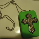 LADIES SMALL LEATHER WALLET/CARD CASE/CIGARETTE CASE..LARGE CROSS ON FRONT