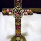 "DECORATIVE 10 1/2"" STANDIING CROSS...VINTAGE JEWELRY...GREAT PINKS/SILVER"