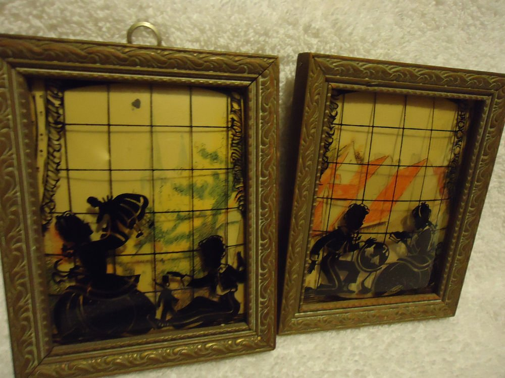 """FRAMED PAIR  4"""" x 5"""" Convex Glass Silhouette Picture Reverse Painted Wall"""