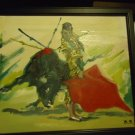 VINTAGE ARTIST SIGNED BULLFIGHT PAINTING ON CANVAS..INITIALS B.S. VERY NICE