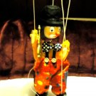 "NICE VINTAGE WOODEN CLOWN PUPPET/MARIONETTE...COLORFUL...APPROX 10 1/2"" TALL"