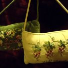 """TWO SMALL HANGING CUSHIONS..PEACE & LOVE.VELVETEEN WITH RAISED ACCENTS..6"""" X 10"""""""