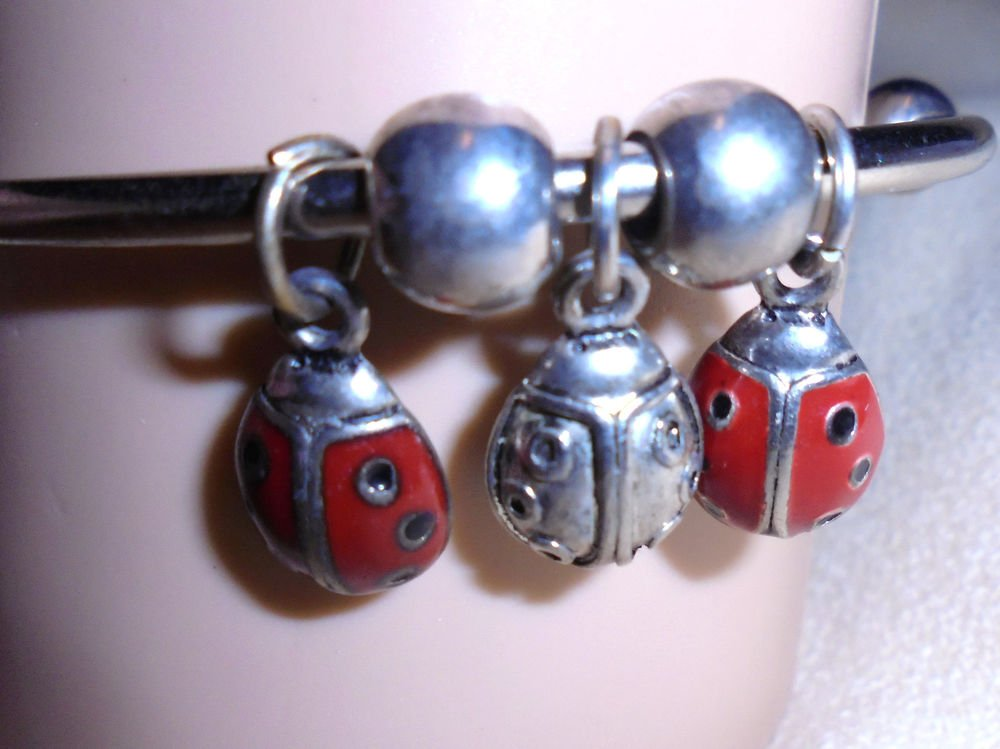 RED LADY BUG BANGLE  BRACELET WITH 3 CHARMS....SILVERTONE....SO CUTE