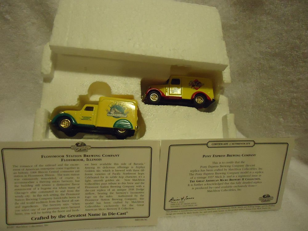 PONY EXPRESS/FLOSSMOOR STATION BREWERY SET 2 CARS W/CERT AUTH....BY MATCHBOOK...