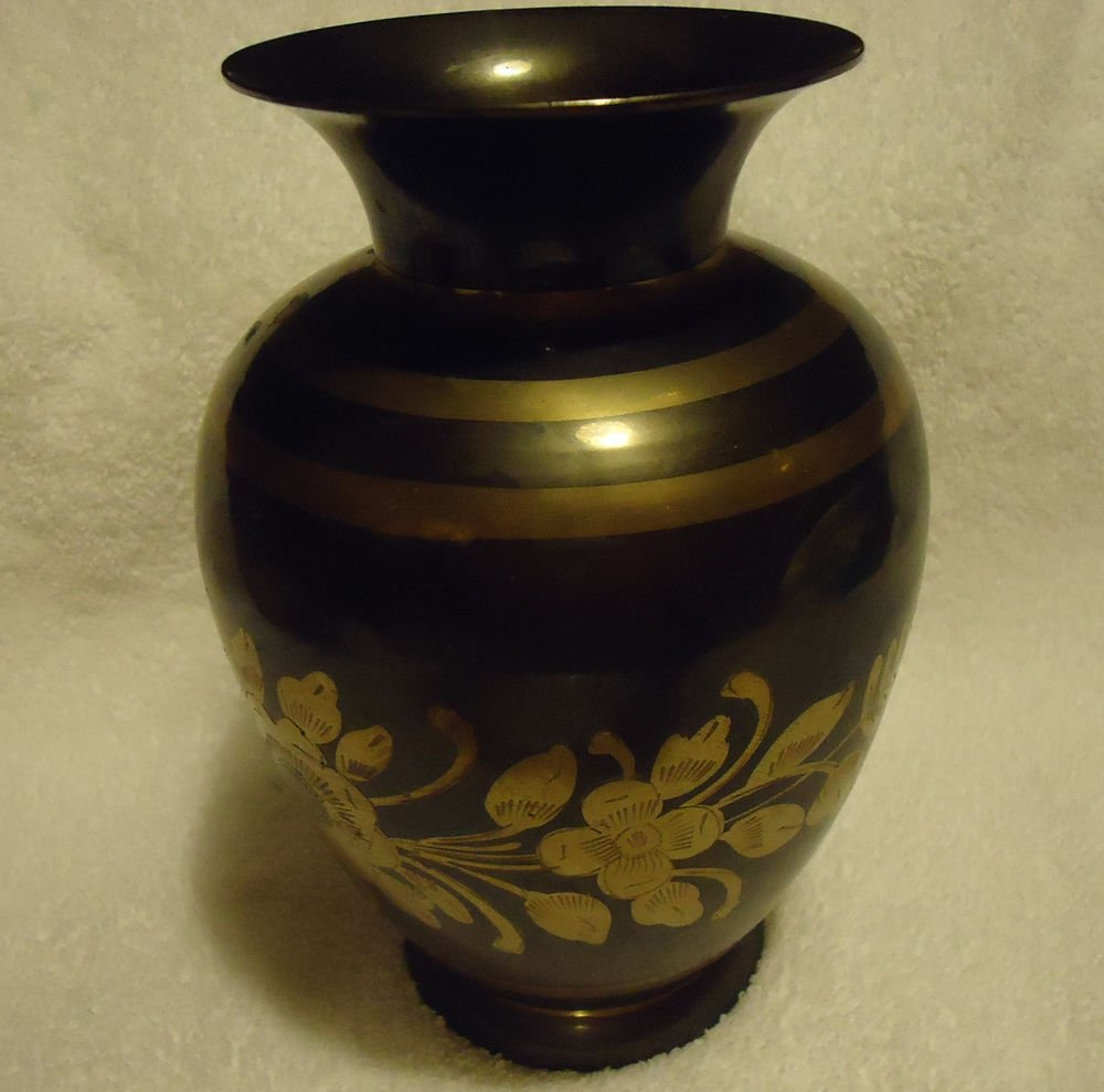 """DECORATIVE BRASS 7 1/2"""" VASE WITH ETCHED FLOWERS AND GOLD TRIM..MANY USES"""