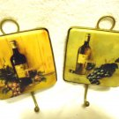"SET OF UNIQUE BRASS WALL HANGING HOOKS WITH WINE/GRAPES ON TILES...4"" SQUARES"