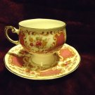 ROSINA FINE BONE CHINA TEA CUP AND SAUCER....FLORAL WITH GOLD... MADE IN ENGLAND