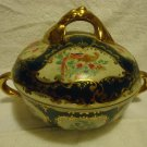 VINTAGE ORIENTAL ACCENT HAND PAINTED COVERED BOWL..GREEN WITH GOLD ACCENTS..NICE