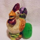 NICE CERAMIC COLORFUL ROOSTER SCRUB PAD HOLDER WITH PAD...SO CUTE BY SINK!!!!