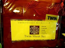 NEW SILKY SOFT LUXURY EMBROIDERED MICROFIBER COMPLETE TWIN SHEET SET CRANBERRY