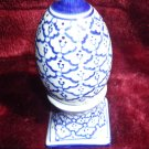 VINTAGE ONE PIECE SALT AND PEPPER SHAKER BLUE AND WHITE.HAND PAINTED IN THAILAND