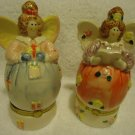 """SET OF TWO ANGEL HINGED TRINKET BOXES..GREAT COLORING ..APPROX  5"""" TALL"""