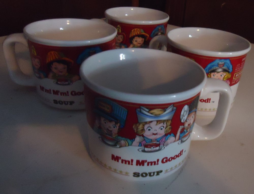 """SET OF FOUR CAMPBELLS SOUP CUP MUGS BY WESTWOOD 1993...""""M'm M'm Good!!"""""""