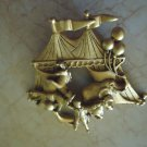 VINTAGE GOLD-TONE METAL CIRCUS/BIG TOP PIN....LOVELY...MARKED???...MUST SEE