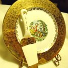 """11 """" VINTAGE ATLAS CHINA SERVING PLATE & CAKE SERVER...COLONIAL COUPLE..STAND."""