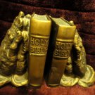 VINTAGE HOLY BIBLE PRAYING HANDS BOOKENDS BY UNIVERSAL STATUARY..1962..BROWN