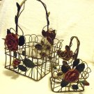 SET OF DECORATIVE WIRE BASKETS WITH CERAMIC FLOWERS..GREAT ACCENT TO ANY DECOR