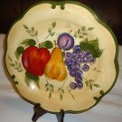 "11"" HOME TRENDS GRANADA DINNER PLATE WITH FRUIT BEIGE/HUNTER GREEN..STAND INCLUD"