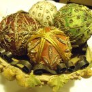 LARGE RESIN WITH METAL RIM & MOLDED FRUIT AROUND FOOTED FRUIT BOWL  WITH CONTENT