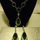 SIMULATED EMERALD GREEN & WHITE AUSTRIAN CRYSTAL EARRINGS & NECKLACE..20/22""