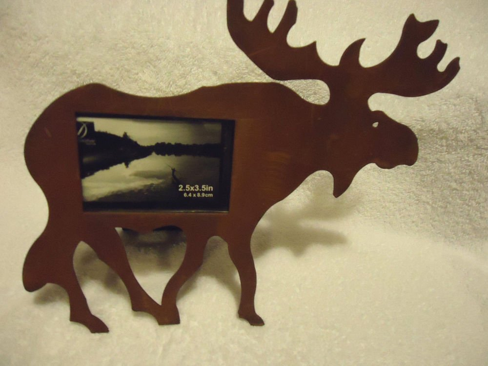 """PRIMITIVE RUSTY MOOSE PICTURE PHOTO FRAME.....APPROX 9"""" X 8""""....METALLIC"""