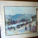 """GOLD FRAME & MATTED ART PRINT BY CAMILLE PISSARRO """"QUAYS AT ROUEN"""" 30 X 34"""