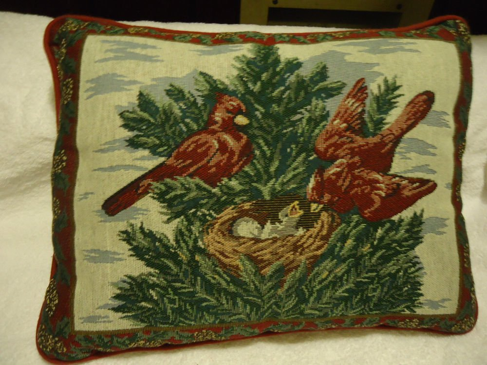 "15"" CARDINAL BIRD & NEST WITH BABIES TAPESTRY PILLOW...BURGUNDY & GREENS...NICE"